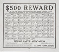Western Expansion:Cowboy, Elmore Cattle Association Idaho Cattle Rustling Reward Poster....