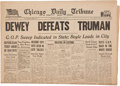 """Political:Miscellaneous Political, Harry S Truman: Complete Front Section of the """"Dewey DefeatsTruman"""" Paper in Exceptionally Nice Condition. ..."""