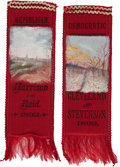 Political:Ribbons & Badges, Grover Cleveland and Benjamin Harrison: Matched Pair of Hand-Painted Scenic Ribbons....