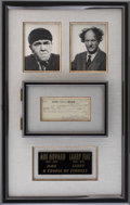 Movie/TV Memorabilia:Autographs and Signed Items, Three Stooges-Related Moe Howard and Larry Fine Signed Check....