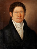American:Portrait & Genre, AMERICAN SCHOOL (19th Century). Portrait of a Gentleman. Oilon canvas. 16-1/2 x 13 inches (41.9 x 33.0 cm). ...