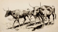 Western, PROPERTY OF A PROMINENT TEXAS COLLECTOR. EDWARD BOREIN (American, 1873-1945). Three Wandering Longhorns, 1915. Ink and...