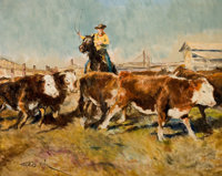 PROPERTY OF A PROMINENT TEXAS COLLECTOR  PAL FRIED (Hungarian/American, 1893-1976) In the Stockyard</