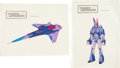 "Memorabilia:Miscellaneous, Transformers: the Movie ""Decepticon"" Plane Painted Cel Model Sheet Group (Sunbow Productions, ... (Total: 2 Items)"