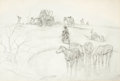Western, PROPERTY OF A PROMINENT TEXAS COLLECTOR. CHARLIE DYE (American, 1906-1972). Evening Camp. Pencil on paper. 23 x 34 inc...