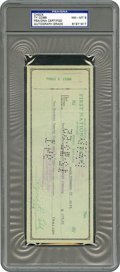 Baseball Collectibles:Others, 1955 Ty Cobb Signed Check PSA/DNA NM-MT 8....