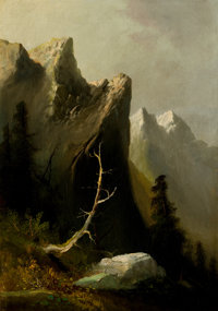 PROPERTY OF A PROMINENT TEXAS COLLECTOR  THOMAS HILL (British/American, 1829-1908) Indian Rock, Blue Moun