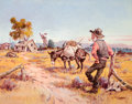 Western:20th Century, PROPERTY OF A PROMINENT TEXAS COLLECTOR. FRED HARMAN (American, 1902-1982). What Now?. Oil on canvas. 22 x 28 inches (...