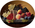 Fine Art - Painting, European:Antique  (Pre 1900), SEVERIN ROESEN (German/American, 1805-1882). Still Life with Basket and Fruit, circa 1860-72. Oil on canvas . 16 x 19-3/...