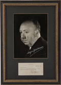 Movie/TV Memorabilia:Autographs and Signed Items, Alfred Hitchcock Signed Note Display....