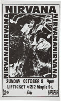 Music Memorabilia:Posters, Nirvana Omaha Lifticket Lounge Concert Poster (Main Vein, 1989)....