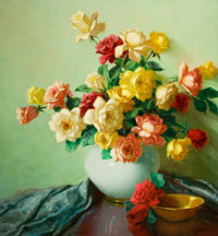 A. D. GREER (American, 1904-1998) Still Life with Roses Oil on canvas 30 x 28 inches (76.2 x 71.1