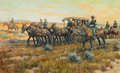 Works on Paper, NICK EGGENHOFER (American, 1897-1985). Cavalry Escort, 1975. Gouache on paper. 15 x 25 inches (38.1 x 63.5 cm). Signed a...