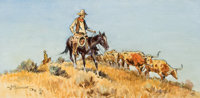 JOHN WADE HAMPTON (American, 1918-1999) Cowboys with the Herd, 1972 Oil on canvas 12 x 24 inches