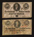Confederate Notes:Group Lots, Confederate 50¢ Notes. Two Examples.. ... (Total: 2 notes)