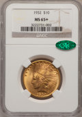 Indian Eagles, 1932 $10 MS65+ NGC. CAC....