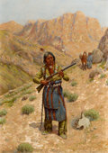Works on Paper, PROPERTY OF A PROMINENT TEXAS COLLECTOR. JOHN HAUSER (American, 1858-1913). Plains Indian with Rifle, 1909. Gouache on...