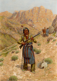 PROPERTY OF A PROMINENT TEXAS COLLECTOR  JOHN HAUSER (American, 1858-1913) Plains Indian with Rifle</