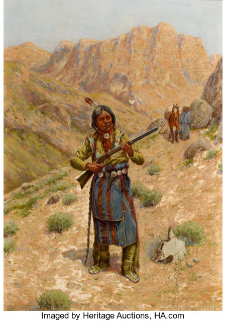 PROPERTY OF A PROMINENT TEXAS COLLECTOR JOHN HAUSER (American, 1858-1913) Plains Indian with Rifle, 1909 Gouache on...