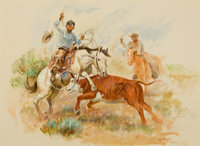 JOE BEELER (American, 1931-2006) Herding Cattle Watercolor and gouache on paper 16 x 20 inches (4