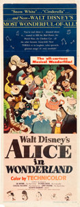 "Movie Posters:Animation, Alice in Wonderland (RKO, 1951). Insert (14"" X 36"") and Lobby Cards (5) (11"" X 14"").. ... (Total: 6 Items)"