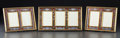 Decorative Arts, French:Other , A CASED SET OF THREE FRENCH ENAMEL AND BRASS FRAMES . Makerunknown, probably Limoges, France, circa 1920. Unmarked. 7-3/8 x...