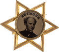 Political:Ferrotypes / Photo Badges (pre-1896), Horatio Seymour: An Absolutely Pristine 1868 Ferrotype Campaign Pin....