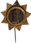 Political:Ferrotypes / Photo Badges (pre-1896), Winfield S. Hancock: An Impressive 1880 Ferrotype Campaign Pin. ...