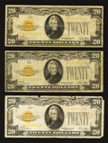 Small Size:Gold Certificates, Fr. 2402 $20 1928 Gold Certificates. Three Examples. Very Good to Very Fine.. ... (Total: 3 notes)