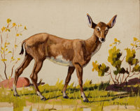 FRED DARGE (American, 1900-1978) Set of Three: The Blacktail Doe, The Elk, and The Horse Oil on arti