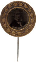 Political:Ferrotypes / Photo Badges (pre-1896), Horace Greeley: A Beautiful 1872 Ferrotype Campaign Pin. ...