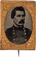 Political:Ferrotypes / Photo Badges (pre-1896), George B. McClellan: A Very Choice 1864 Ferrotype Pin....