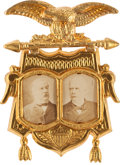 Political:Ferrotypes / Photo Badges (pre-1896), Cleveland & Stevenson: A Scarce 1892 Jugate Pin in SpectacularCondition....