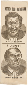 Political:Ribbons & Badges, Benjamin Harrison: Exceptionally Choice Comical Harrison Campaign Ribbon....