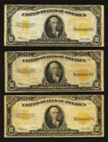 Large Size:Gold Certificates, Fr. 1173 $10 1922 Gold Certificates. Three Examples. Very Good to Fine.. ... (Total: 3 notes)