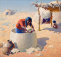 Paintings, PROPERTY OF A PROMINENT TEXAS COLLECTOR. WILLIAM ROBINSON LEIGH (American, 1866-1955). Papago Weaving Grain Basket, 19...