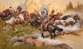 Paintings, FRANK MCCARTHY (American, 1924-2002). Stolen Ponies. Oil on canvas. 24 x 40 inches (61.0 x 101.6 cm). Signed lower left:...