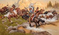FRANK MCCARTHY (American, 1924-2002) Stolen Ponies Oil on canvas 24 x 40 inches (61.0 x 101.6 cm)