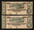 Confederate Notes:1864 Issues, T68 $10 1864. Consecutive Pair.. ... (Total: 2 notes)