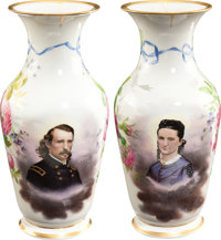 George Armstrong and Elizabeth Custer: A Magnificent Pair of Hand-Painted Porcelain Portrait Vases, Commissioned by Cust...