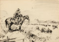 Works on Paper, FRANK B. HOFFMAN (American, 1888-1958). Smoking Cowboy. Pen and ink on tracing paper. 7 x 10 inches (17.8 x 25.4 cm) win...