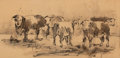 Works on Paper, WOLFGANG POGZEBA (American, 1936-1982). Herd of Cattle. Pen and ink on paper. 9-3/4 x 20 inches (24.8 x 50.8 cm). Signed...