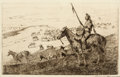 Prints, JOHN EDWARD BOREIN (American, 1873-1945). Indian on Horseback. Dry-point etching on paper. Plate: 6-3/4 x 10-3/4 inches ...