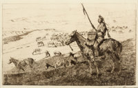 JOHN EDWARD BOREIN (American, 1873-1945) Indian on Horseback Dry-point etching on paper Plate: 6-