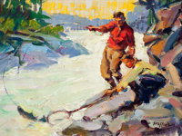 FRANK B. HOFFMAN (American, 1888-1958) Rogue River Fishing Oil on artist's board 9 x 12 inches (2