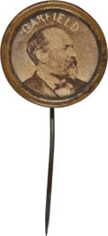 Political:Ferrotypes / Photo Badges (pre-1896), James A. Garfield: Albumen Stickpin....