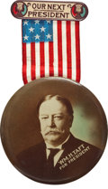 """Political:Pinback Buttons (1896-present), William Howard Taft: 3½"""" Sepia Celluloid Pin...."""
