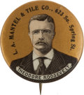 Political:Pinback Buttons (1896-present), Theodore Roosevelt: Advertising Button from Los Angeles....