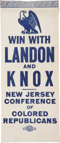 "Political:Ribbons & Badges, Landon & Knox: Scarce ""Win With Landon and Knox New Jersey Conference of Colored Republicans"" Campaign Ribbon...."