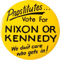 Political:Pinback Buttons (1896-present), John F. Kennedy and Richard Nixon: Off-Color Kennedy Nixon Novelty Button....